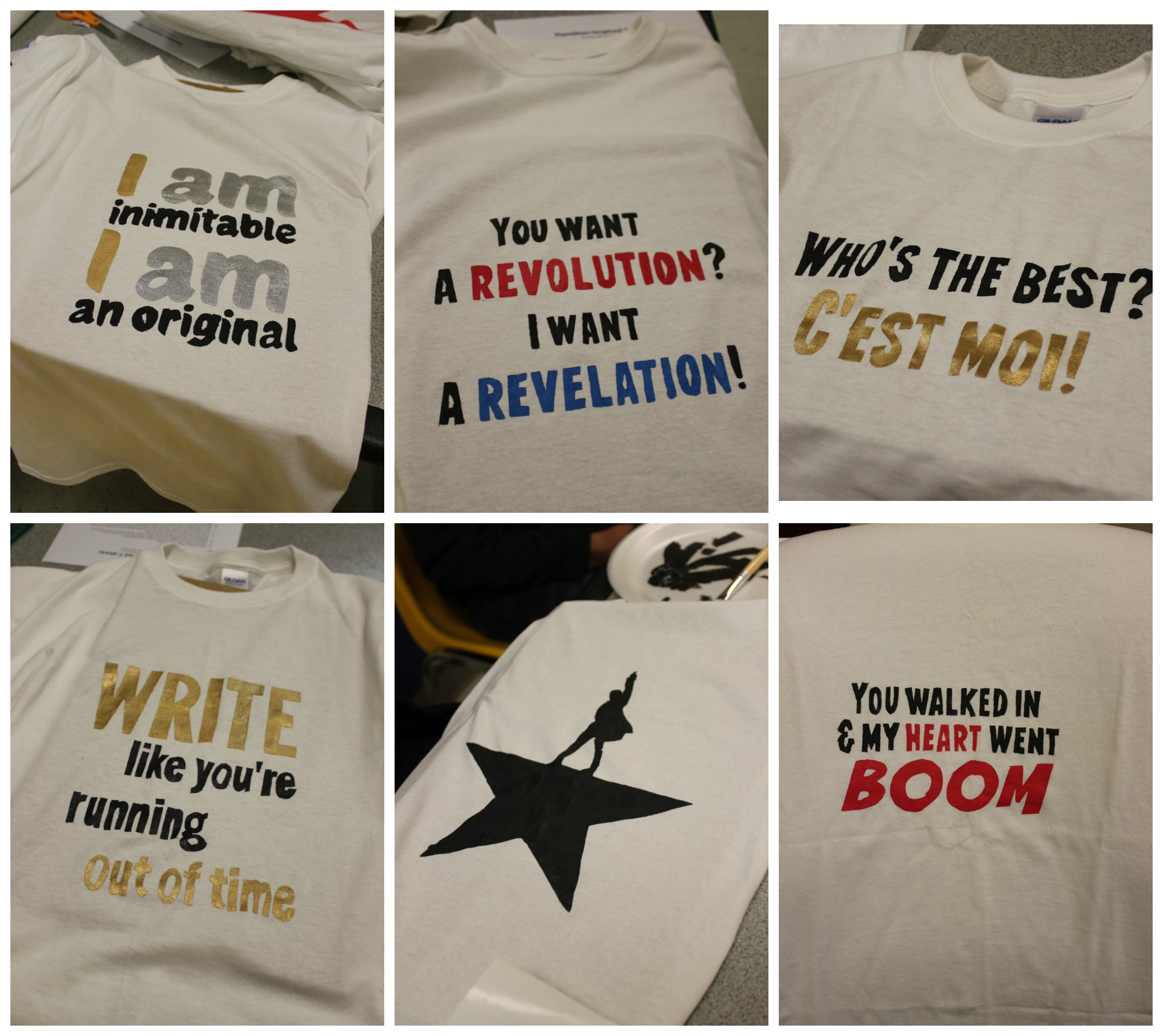 Collage of Hamilton shirts