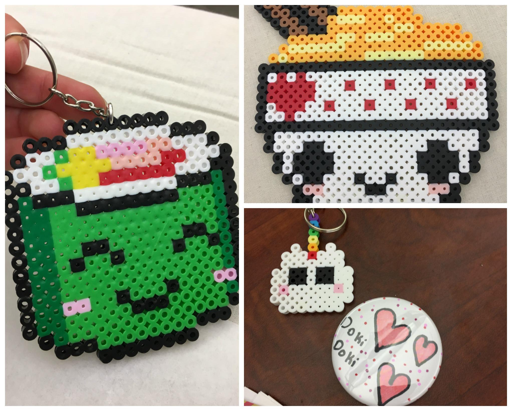 Perler bead sushi key chain, perler bead ramen, and unicorn keychain and Doki Doki button