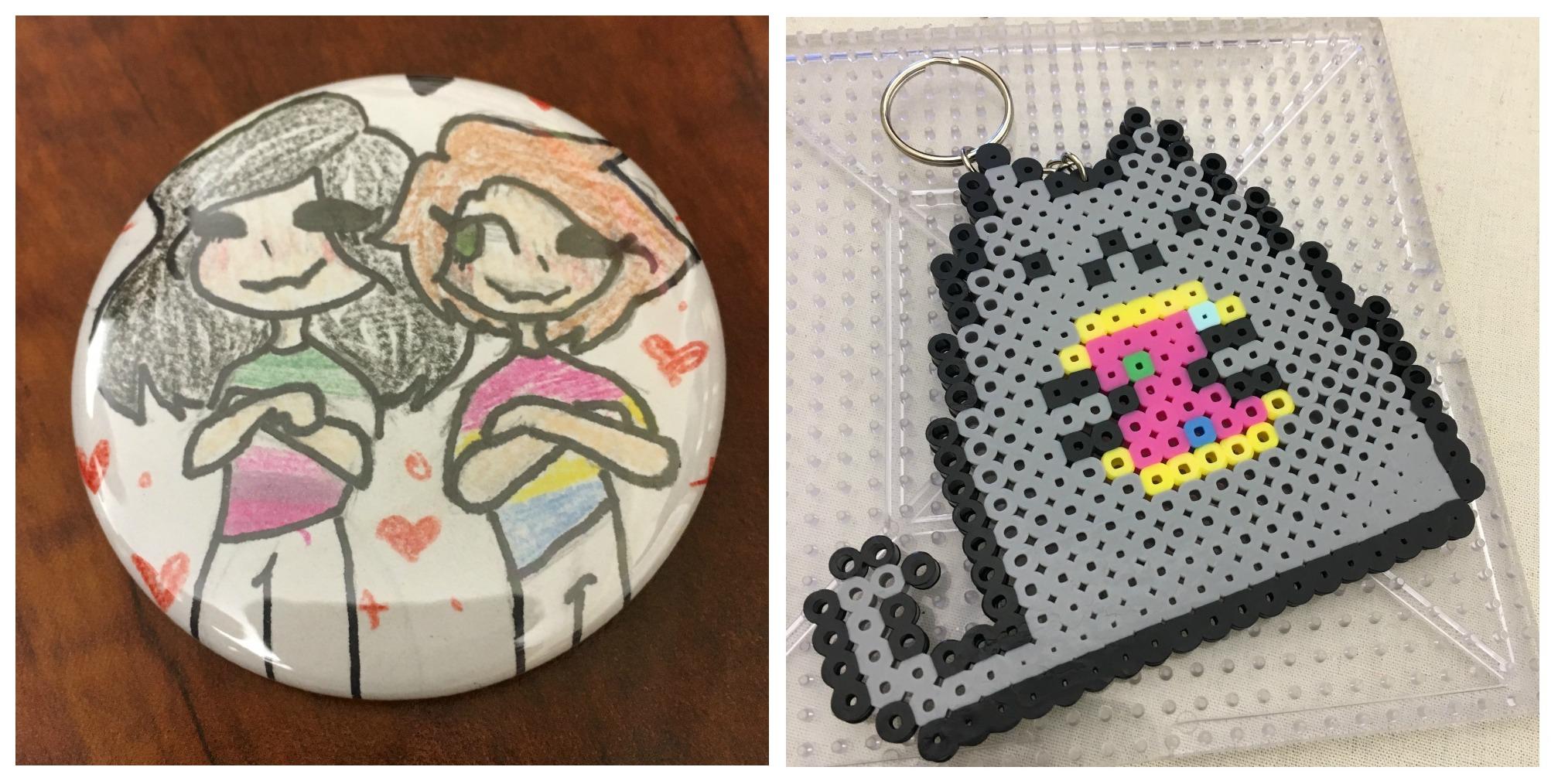 A button and Pusheen pixel art made out of perler beads