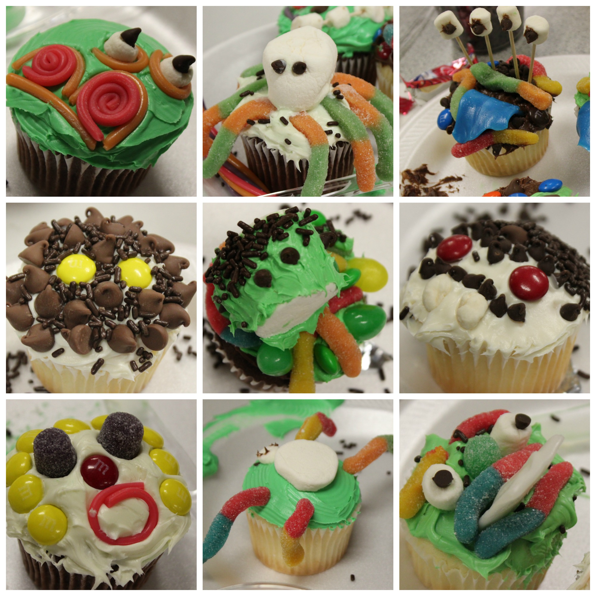 Collage of different example of creepcakes made by teens