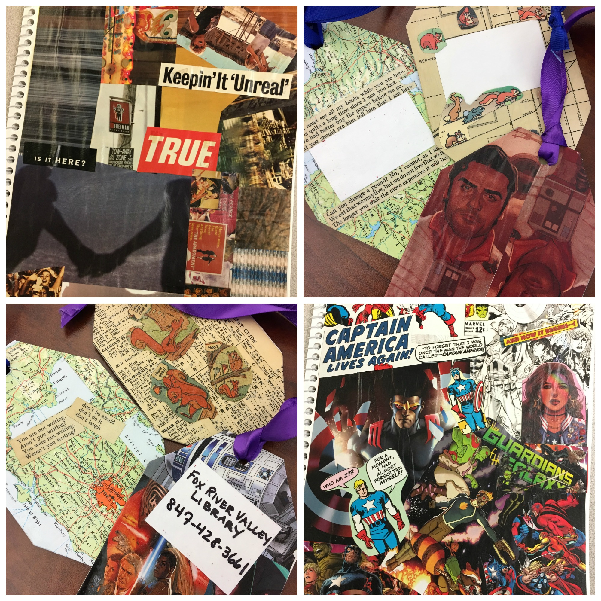 Decoupage notebook made from magazine cut outs, luggage tag examples made from maps, Chicago Street Guide, and Star Wars comic; notebook made from comic book pages
