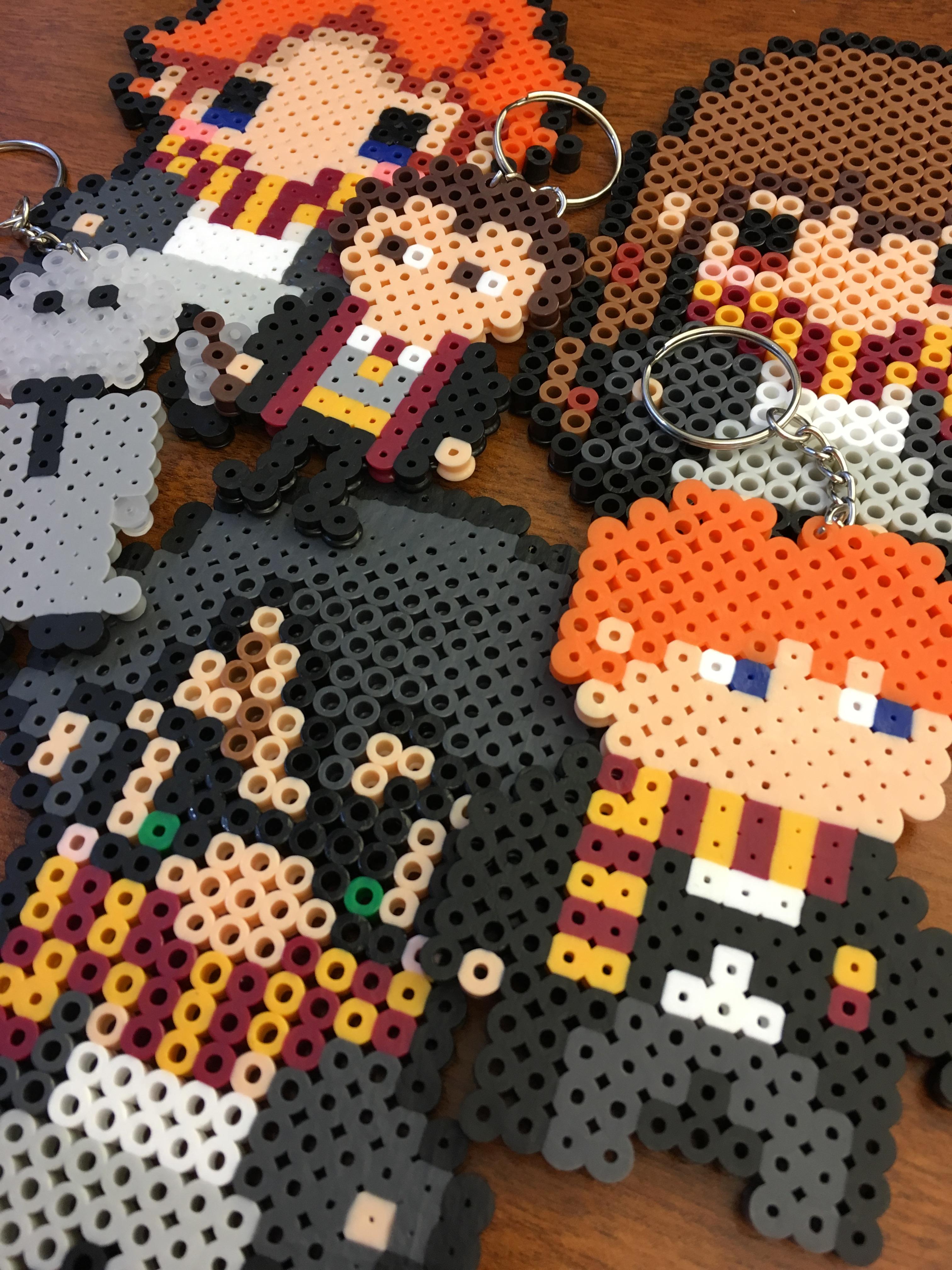 Harry Potter, Voldemort, Ron Weasle, Hermoine Granger, Neville Longbottom key chains made out of perler beads