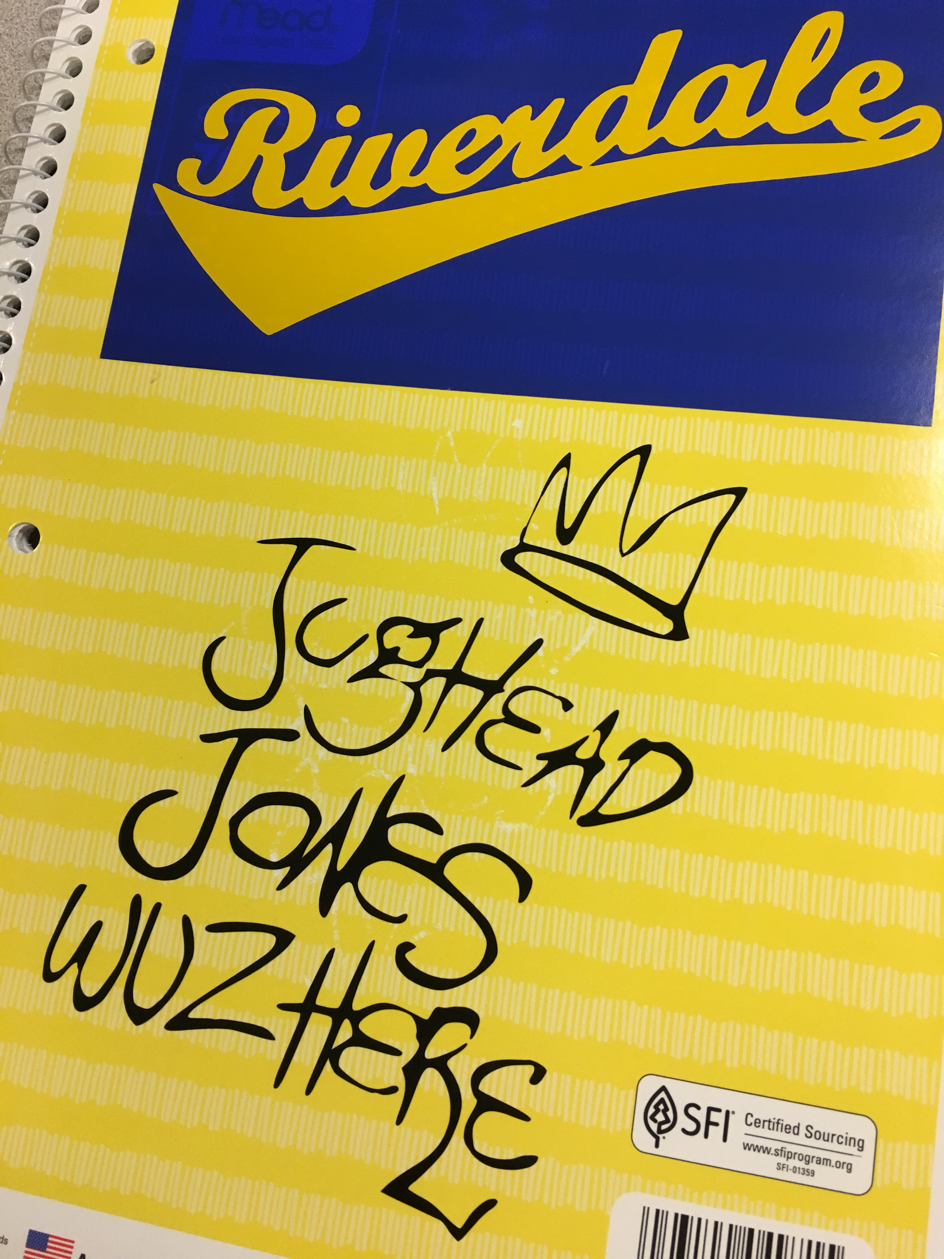 "Yellow notebook with Riverdale decal and ""Jughead Jones wuz here"" decal"