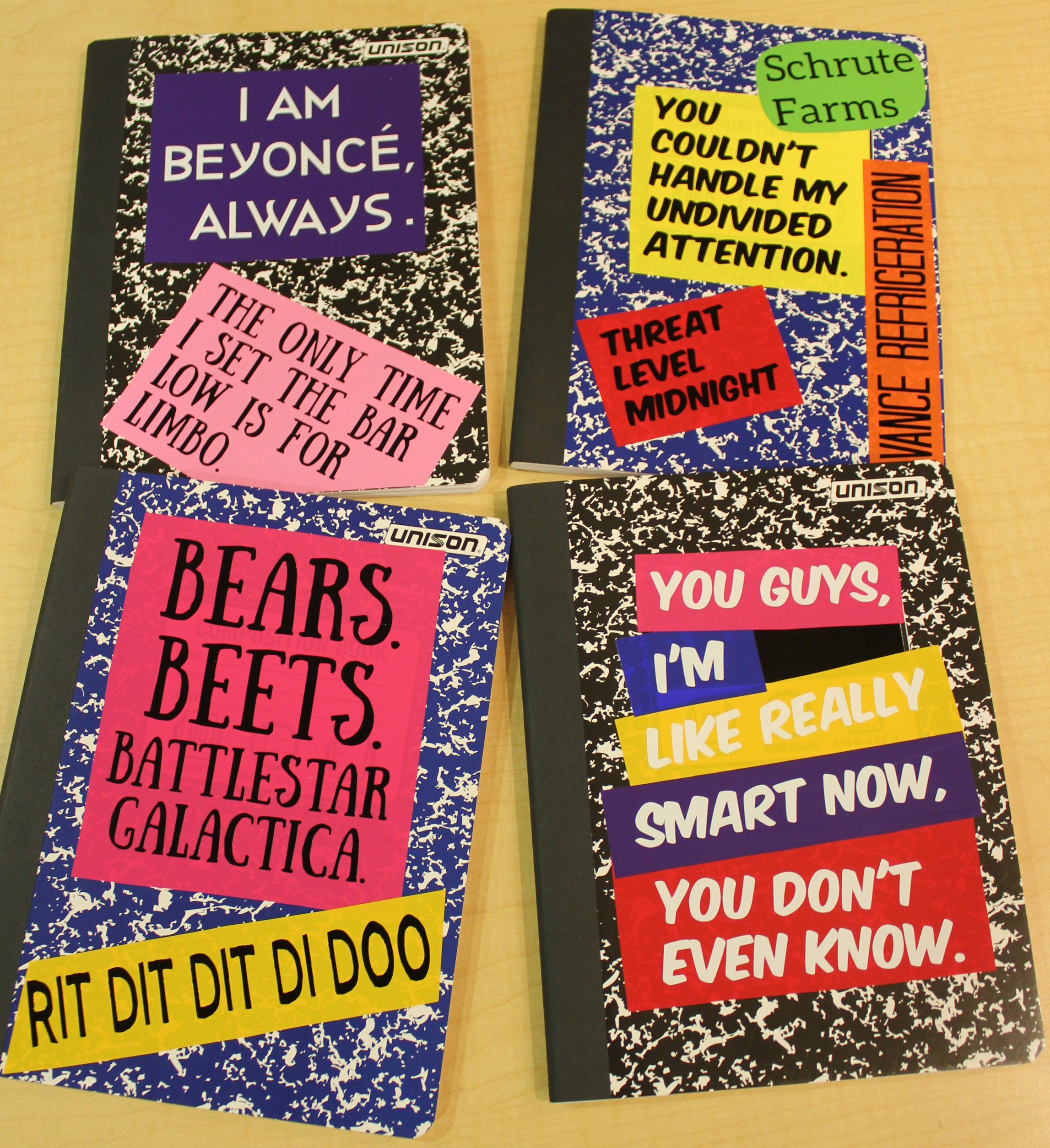 Four note books with Office quote decals