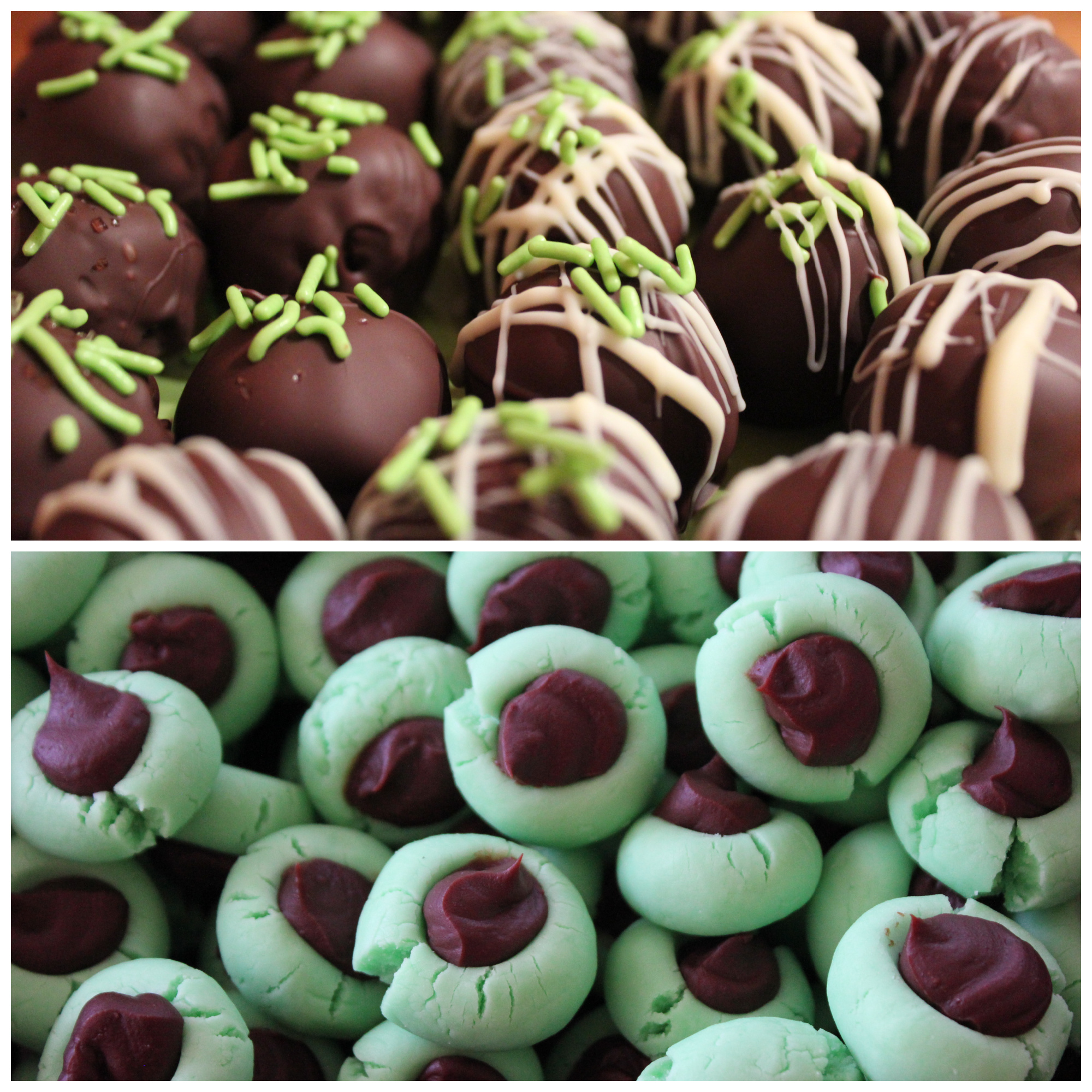 Top photo: Mint Oreo balls; bottom photo: Chocolate Mint Cream Cheese Buttons