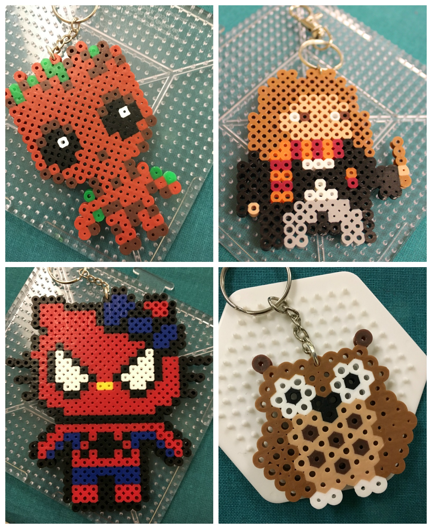 Pixel art made into key chains: Groot, Hermoine, owl, and Spider-Man Hello Kitty