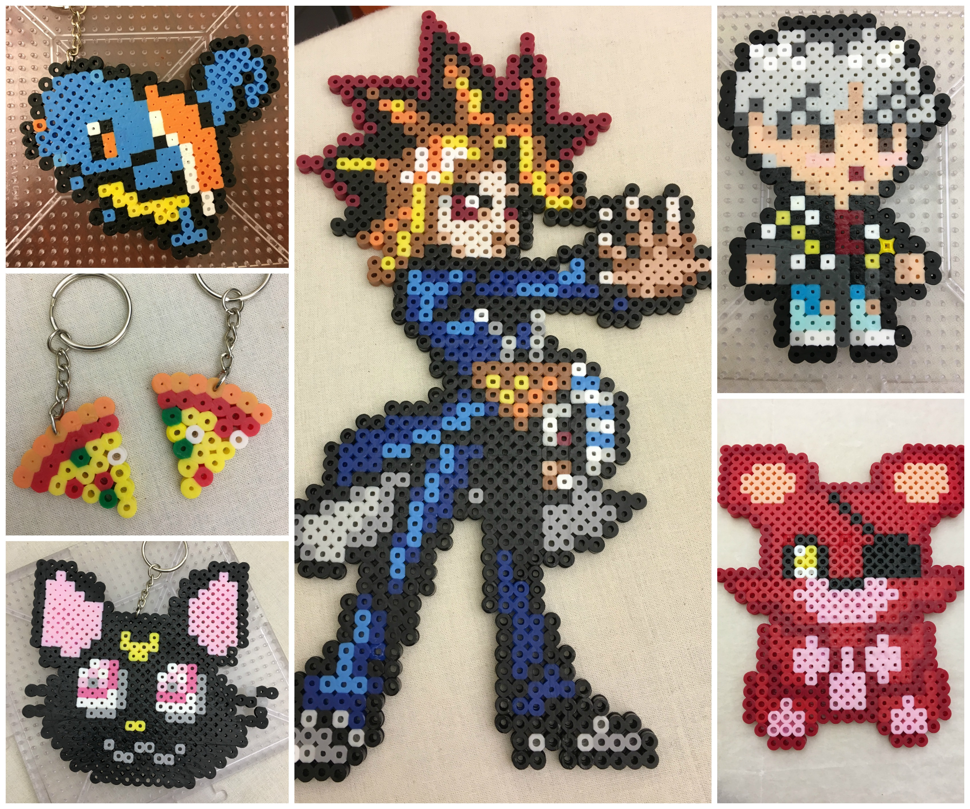 Collage of pixel art projects made out of perler beads