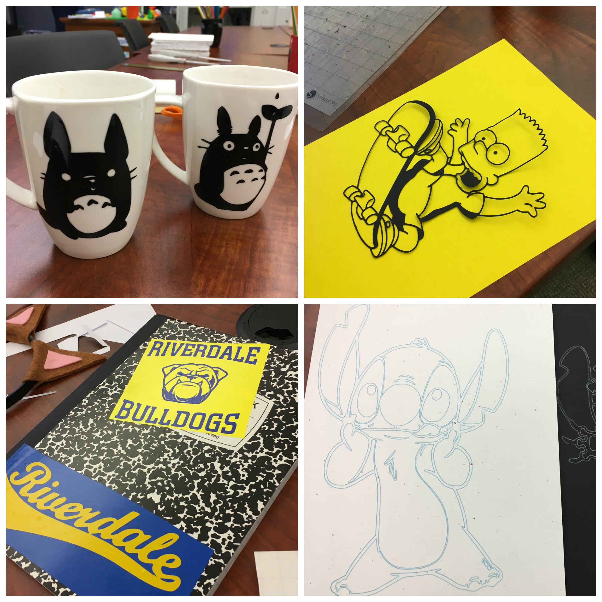 Mugs with Totoro vinyl decals, Bart Simpson cut from cardstock, Stitch drawn with sketch pen, Riverdale decals on a notebook
