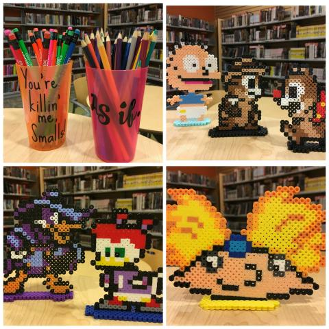 Pencil cup holders (You're killin' me Smalls! and As if.), perler bead Tommy Pickles, Rescue Rangers, Hey Arnold!, Darkwing Duck and Gosalyn Mallard