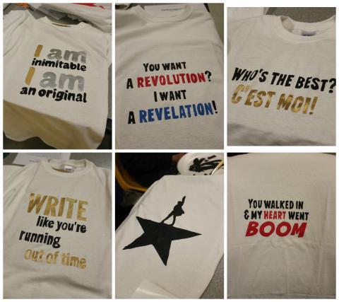 Collage of Hamilton shirts