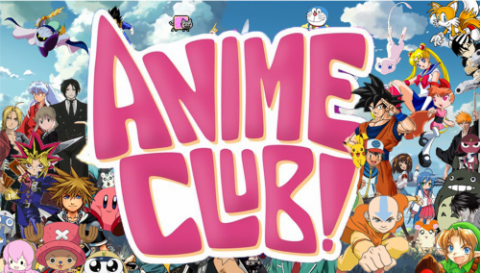 Anime Club graphic with many anime club characters surrounding text