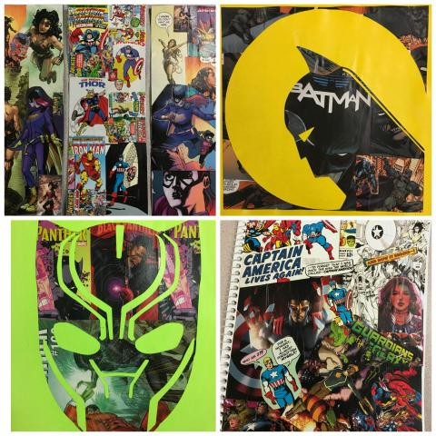 Collage of bookmarks made from comic book pages, Batman comic book art, Black Panther comic book art, and a notebook collaged in comic book pages