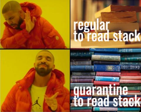 Drake Hotline Bling Meme: Regular to read stack of books / quarantine to read stack of books