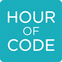 Hour of code logo on turquoise background