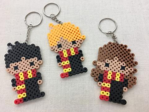 Harry Potter, Ron Weasley, and Hermoine Granger perler bead key chains