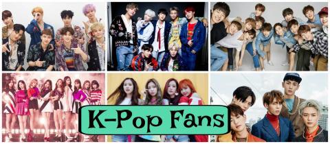 K-Pop groups clockwise from top left: Exo, BTS, Seventeen, SHINee, Black Pink, Twice