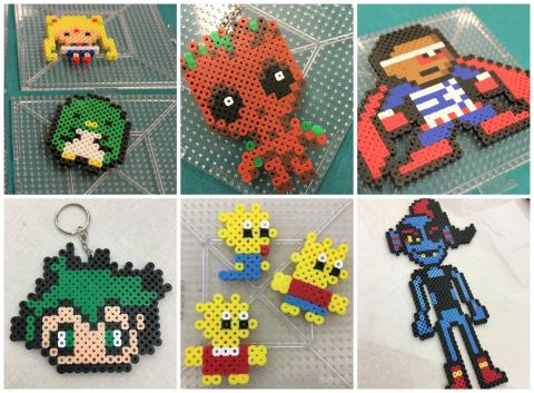 Collage of pixel art creations: Anime characters, Baby Groot, Falcon, Lisa, Maggie, and Bart Simpson