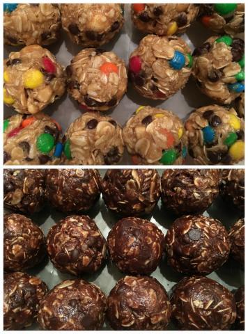 Top photo: monster cookie oatmeal energy balls; Bottom photo: Double chocolate oatmeal balls