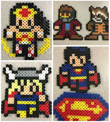 Collage of Wonder Woman, Thor, Star Lord, Rocket, and Superman pixel art