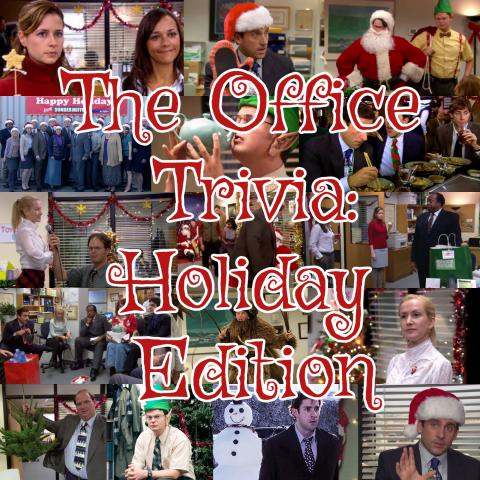 The Office Trivia: Holiday Edition text over collage of photos from Christmas episodes