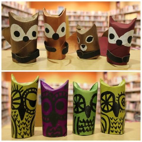 top photo: Foxes and a squirrel made from paper towel tubes; bottom photo: several owls made out of paper towel tubes