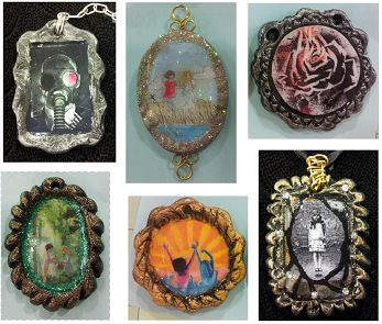 Examples of Book Art Necklaces
