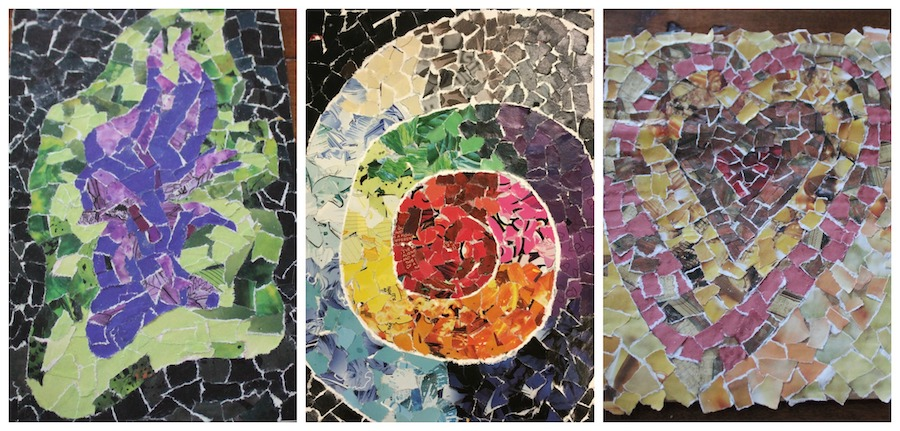 Maleficent mosaic, spiral mosaic, and heart mosaic
