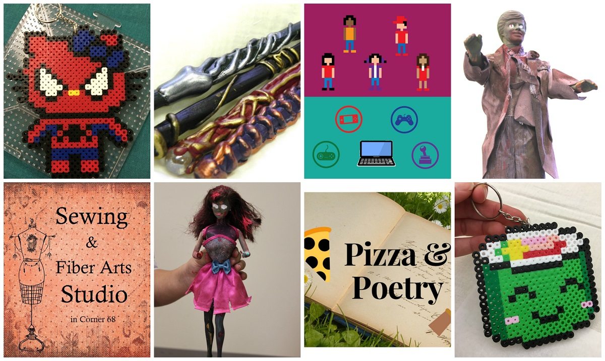 Collage: Spider-man Hello Kitty key chain, wands, Teen Gaming graphic, Ken Zombie, kawaii sushi key chain, Pizza & Poetry graphic, Zombie Barbie, Sewing & Fiber Arts Studio graphic