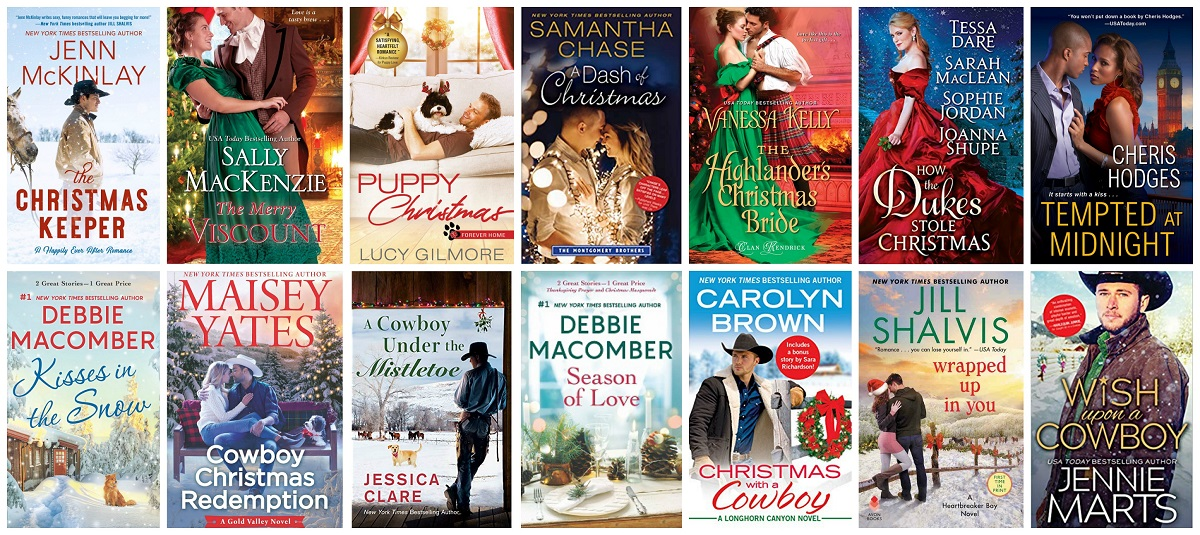 Collage of book covers: The Christmas Keeper by Jenn McKinlay, The Merry Viscount by Sally MacKenzie, Puppy Christmas by Lucy Gilmore, A Dash of Christmas by Samantha Chase, The Highlander's Christmas Bride by Vanessa Kelly, How the Dukes Stole Christmas, Tempted at Midnight by Cheris Hodges, Wish Upon a Cowboy by Jennie Marts, Wrapped Up in You by Jill Shalvis, Christmas with a Cowboy by Carolyn Brown, Season of Love by Debbie Macomber, A Cowboy Under the Mistletoe by Jessica Clare, Cowboy Christmas Redemption by Maisey Yates, and Kisses in the Snow by Debbie Macomber