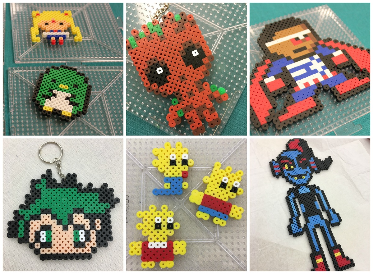 Collage of pixel art creations, including Sailor Moon, baby Groot, Falcon, anime character, Lisa, Maggie, and Bart Simpson