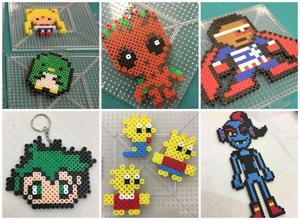 Collage of pixel art characters, including Sailor Moon, Baby Groot, Bart Simpson, Lisa Simpson, and Maggie Simpson