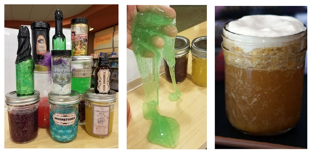 Examples of potions, slime, and butterbeer