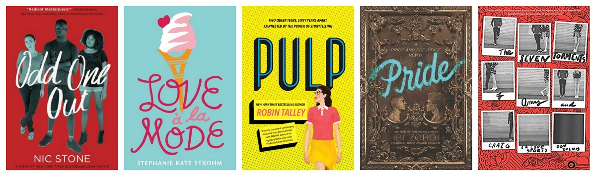 Book covers of Odd One Out, Love a la Mode, Pulp, Pride, and The Seven Torments of Amy and Craig (A Love Story)