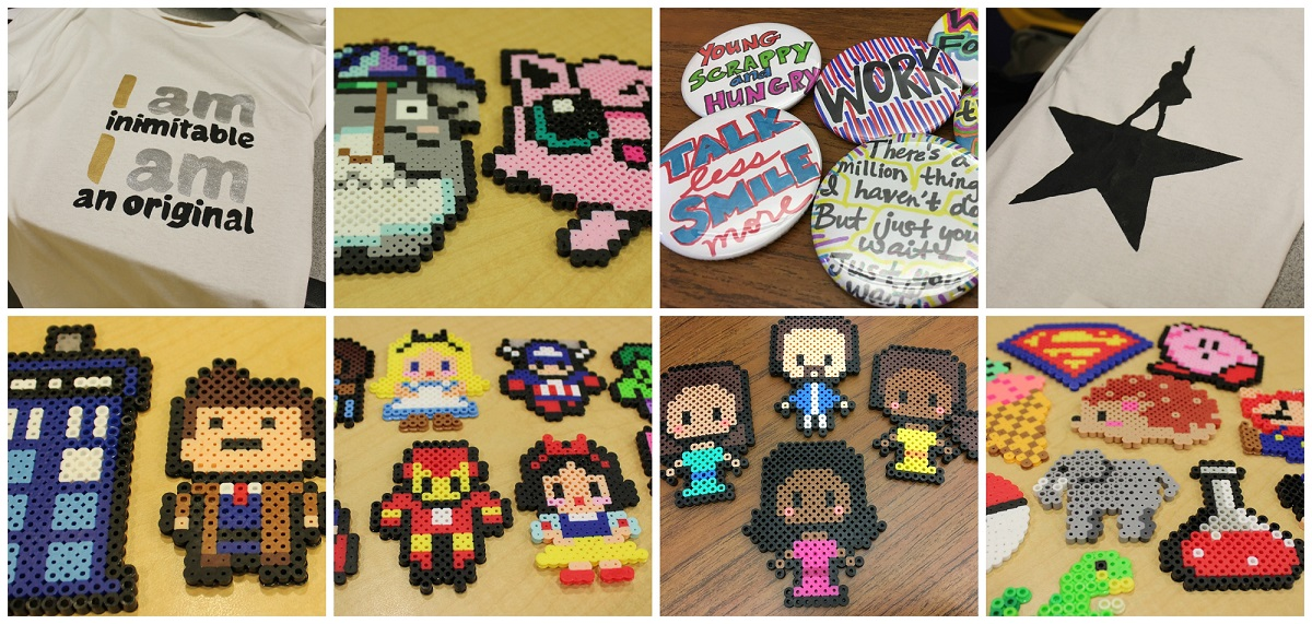 Examples of Hamilton t-shirts, pixel art crafts, and Hamilton buttons and pixel art