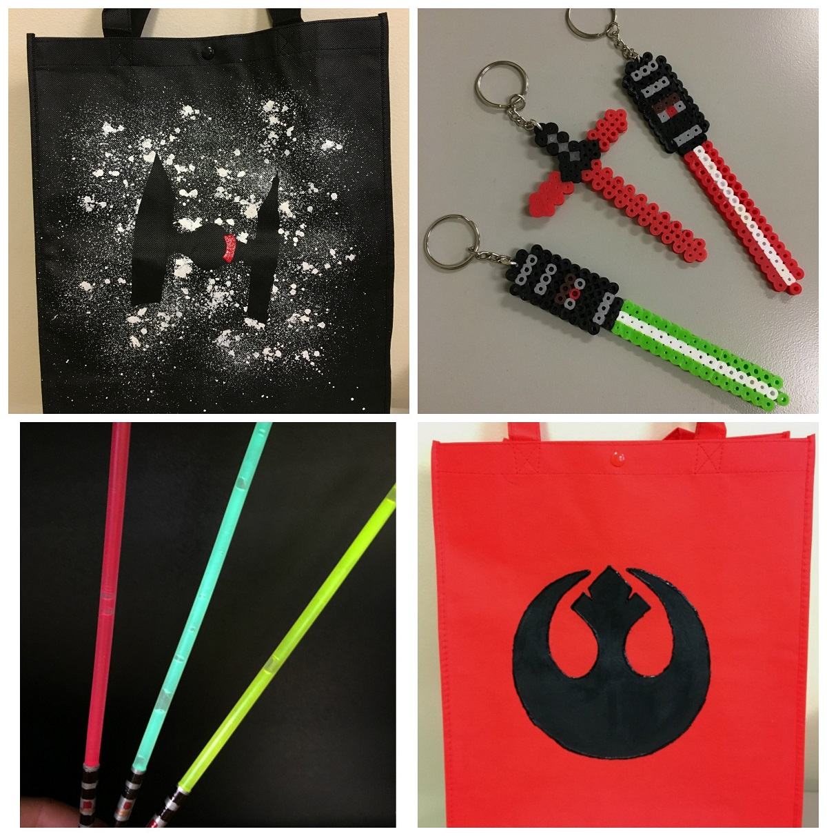 Tie fighter tote bag, light saber keychains, glow stick keychains, and Resistance tote bag