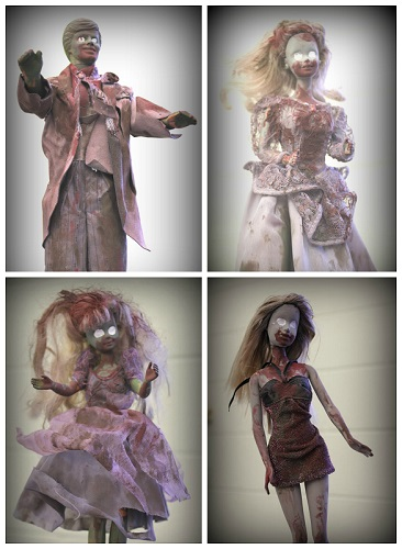 Examples of Barbies and Ken doll transformed into zombies