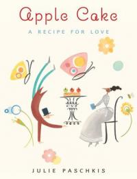 cover of Apple Cake - seated girl reads with a man presenting a cake on a tray to her