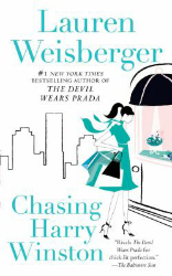 book cover for Chasing Harry Winston by Lauren Weisberger featuring a woman window shopping against the New York skyline
