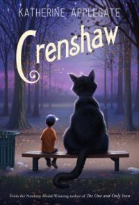 Cover of Crenshaw; the backs of a larger than human cat and a boy sitting on a bench