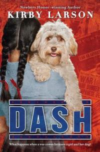 Cover of Dash; back of a girl with two long braids holding a curly-haired dog that is looking over her shoulder