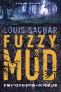 Cover of Fuzzy Mud; dark, creepy woods with two children entering them way off in the distance