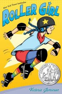 Cover of Roller Girl; a girl with blue braids on roller skates
