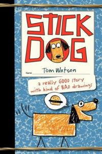Cover of Stick Dog; pencil drawing of a dog
