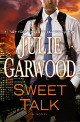 book cover for Sweet Talk by Julie Garwood featuring a man in a business suit standing in front of a city skyline