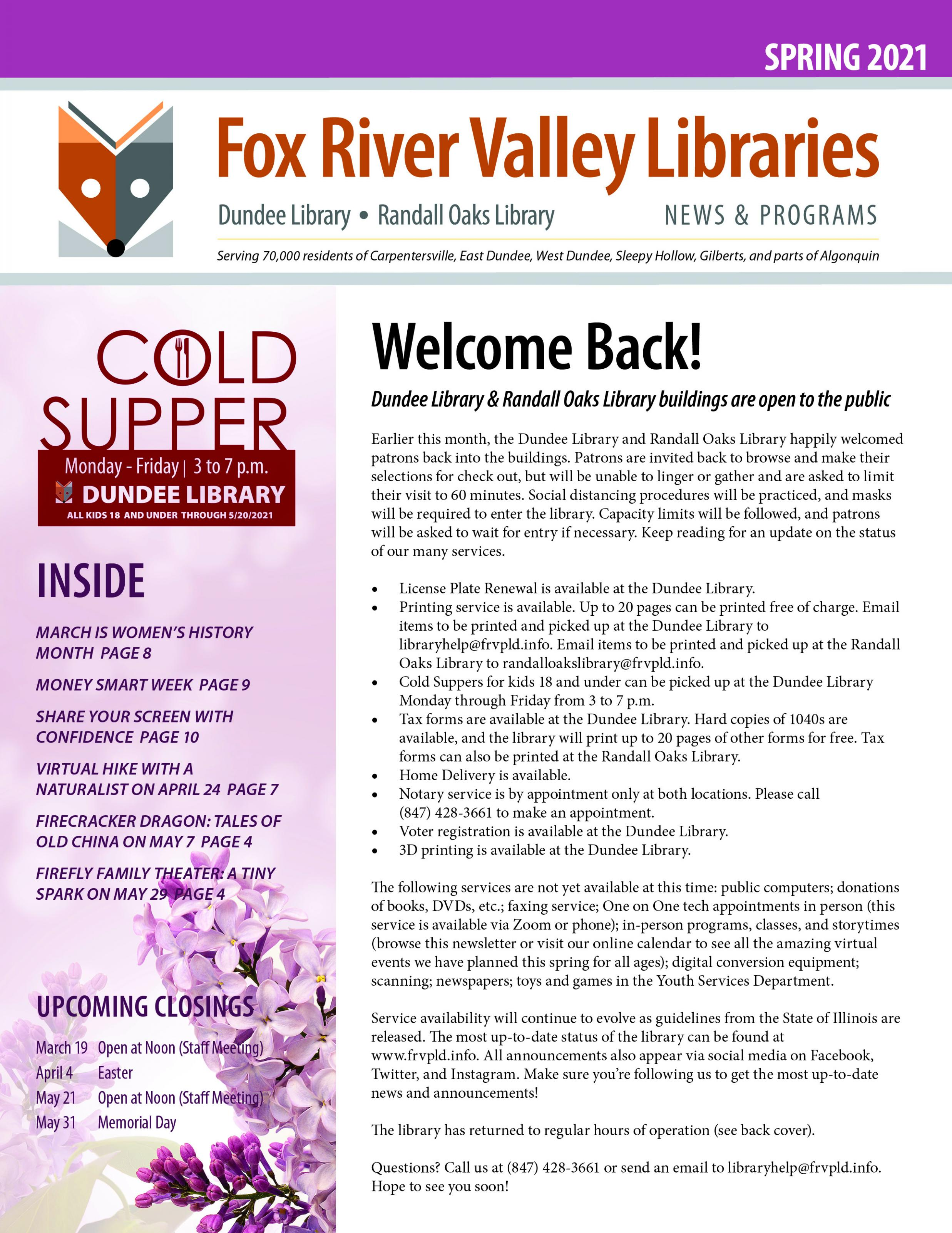Cover of 2018 Winter Newsletter Link to Full Newsletter