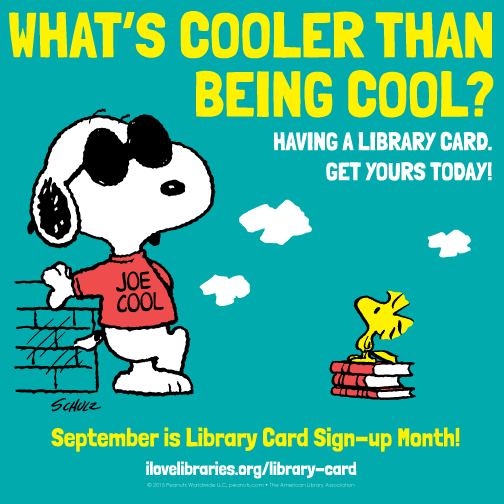 Snoopy ALA Library Card Sign-up Month poster