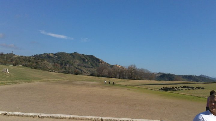 Ancient Olympic stadium in Olympia, Greece