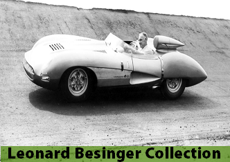 Photo of Leonard Besinger driving a race car at Meadowdale Raceway