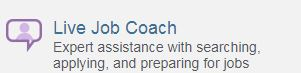 Live job coach icon on JobNow website