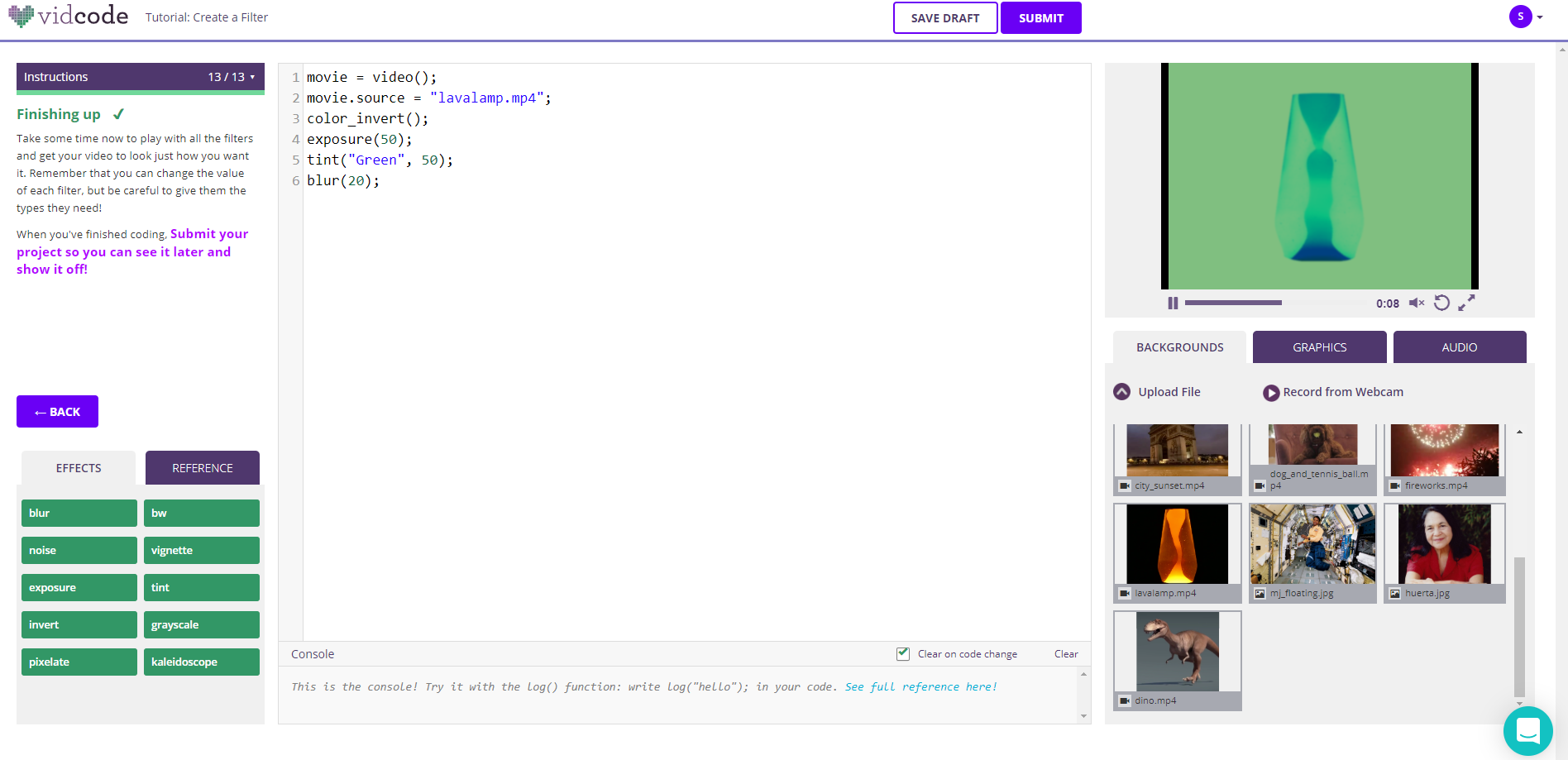 Screenshot of completed create a filter project on Vidcode website